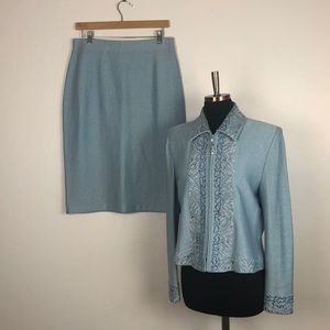 St. John Blue Embroidered Knit Skirt Suit